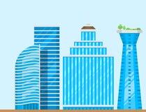 Illustration för vektor för lägenhet för affär för hus för arkitektur för stad för kontor för skyskrapabyggnadstorn vektor illustrationer