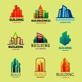 Illustration för vektor för lägenhet för affär för hus för emblem för arkitektur för stad för kontor för torn för skyskrapabyggna stock illustrationer