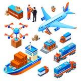 Illustration för vektor för logistikleveranstransport stock illustrationer
