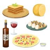 Illustration för vektor för lunch för läcker hemlagad matlagning för kokkonst för tecknad filmItalien mat ny traditionell italien vektor illustrationer