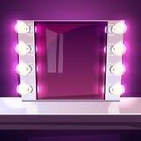 Illustration för vektor för makeupspegellampa upplyst royaltyfri illustrationer