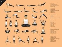 Illustration för vektor för Manga Yoga Man Easy Poses uppsättningtecknad film stock illustrationer