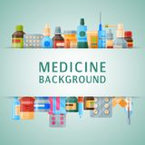 Illustration för vektor för medicinbakgrundsbaner Medicin apotek, sjukhusuppsättning av droger med etiketter läkarbehandling vektor illustrationer