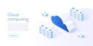 Illustration för vektor för molnlagringsnedladdning isometrisk Digital se stock illustrationer