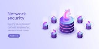 Illustration för vektor för nätverksdatasäkerhet isometrisk Online-service stock illustrationer