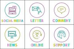 Illustration för vektor för online-tjänstmotorer fastställd stock illustrationer