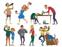 Illustration för vektor för person för tecken för alkoholism för man och för kvinna för berusat tecknad filmfolk alkoholiserad fu vektor illustrationer