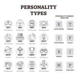 Illustration för vektor för personlighetstyper BW skisserade personprofilsymboler fotografering för bildbyråer