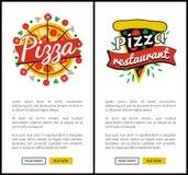 Illustration för vektor för pizzarestaurangsamling stock illustrationer