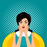 Illustration för vektor för popkonst, ljusa färger, övre stil för stift, förvånad kvinna Arkivbild