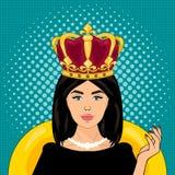 Illustration för vektor för popkonst, ljusa färger, övre stil för stift, kvinna med en krona på hennes huvud, anförandebubbla Arkivfoto