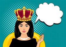 Illustration för vektor för popkonst, ljusa färger, övre stil för stift, kvinna med en krona på hennes huvud, anförandebubbla Arkivfoton