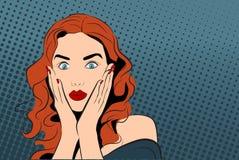 Illustration för vektor för popkonst med den häpna flickan stock illustrationer