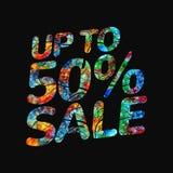 illustration för vektor för 50 procent Sale baner, 50 rabatt, försäljningsvektoremblem för etiketter, klistermärkear, baner, etik royaltyfri illustrationer