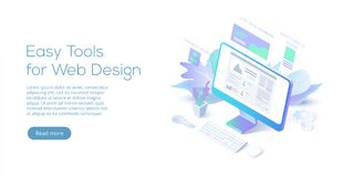 Illustration för vektor för rengöringsdukdesign begreppsmässig isometrisk Website int vektor illustrationer