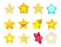 Illustration för vektor för samling för symboler för stjärna för olik stilformkontur skinande