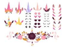 Illustration för vektor för sats för enhörningframsidaskapelse - tecknad filmbeståndsdelar för skapelse av det magiska felika dju stock illustrationer