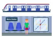 Illustration för vektor för service för medel för tunnel för transport för tur för järnväg för trans. för tunnelbanastation moder Royaltyfria Foton