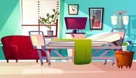 Illustration för vektor för sjukhussalrum inre vektor illustrationer