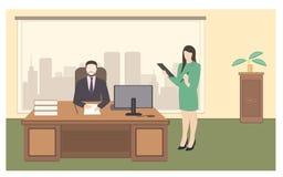 Illustration för vektor för stil för kontorslivlägenhet stock illustrationer