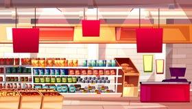 Illustration för vektor för supermarketlivsmedelsbutikmat vektor illustrationer