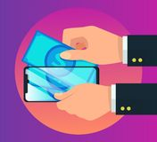 Illustration för vektor för symbol för pengare-plånbok smartphone stock illustrationer