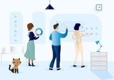 Illustration för vektor för teamwork för affärskontor royaltyfri illustrationer