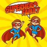 Illustration för vektor för tecken för tecknad film för SuperherofamiljSuperheroes vektor illustrationer