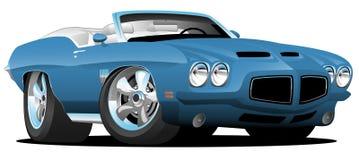 Illustration för vektor för tecknad film för bil för muskel för klassisk Seventiesstil amerikansk konvertibel Royaltyfri Bild