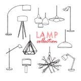 Illustration för vektorbelysninglampa golvlampa, tabelllampa, hänge, inredesign stock illustrationer