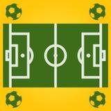 Illustration för vektorfotbollfält med bollen Arkivbild