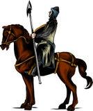 Illustration för vektorgemkonst av en bepansrad riddare på en läskig svart häst med röda ögon som laddar eller jousting med en la stock illustrationer