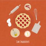 Illustration för vektormatlagningtid med plana symboler Ny mat och material i plan stil Royaltyfri Foto