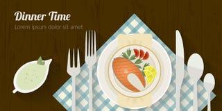 Illustration för vektormatlagningtid med plana symboler Ny mat och material på köksbordet i plan stil Royaltyfri Fotografi
