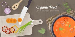 Illustration för vektormatlagningtid med plana symboler Ny mat och material på köksbordet i plan stil Arkivbild