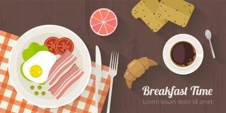 Illustration för vektormatlagningtid med plana symboler Ny mat och material på köksbordet i plan stil Royaltyfri Foto