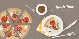 Illustration för vektormatlagningtid med plana symboler Ny mat och material på köksbordet i plan stil vektor illustrationer