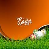 Illustration för vektorpåskferie med målade ägg på gräsbakgrund Fotografering för Bildbyråer