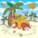 Illustration för vektortecknad filmsjöstjärna som kopplar av på stranden stock illustrationer