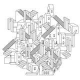 Illustration för vektorzenkonst översiktsstad Royaltyfri Bild