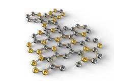 illustration för vetenskap 3d av den abstrakta molekylen Arkivfoto