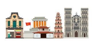 Illustration för Vietnam horisontvektor Abstrakt gata med det främre huset, pagod stock illustrationer