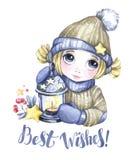 Illustration för vinterferier Gullig flicka för vattenfärg med jul lampa, stjärnor invitation new year Ordgratulationer Arkivfoton