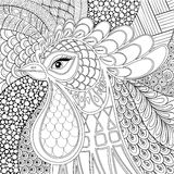 Illustration för Zentangle tuppvektor Nytt år för symbol 2017 han Royaltyfria Bilder