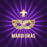 Illustration für den Mardi Gras-Feiertag Die Schlangejagd im Labyrinth Maske, Aufschrift, gracladic Lilie, schöner Hintergrund Stockfotografie
