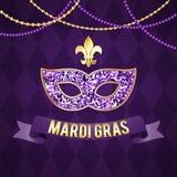 Illustration für den Mardi Gras-Feiertag Die Schlangejagd im Labyrinth Maske, Aufschrift, gracladic Lilie, schöner Hintergrund Lizenzfreies Stockbild