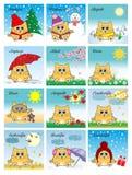 Illustration für einen Kalender mit Kätzchen jahreszeiten lizenzfreie stockbilder