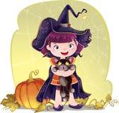 Illustration für Halloween mit einer kleinen netten Hexe, einer Katze und einem pum Stockbilder