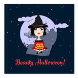 Illustration für Halloween/nette Hexe Stockfotografie