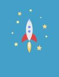 Illustration für Karte mit Rocket im Raum Lizenzfreies Stockfoto